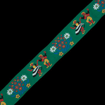 "Green, Red and Gold Dancing Couple Jacquard Ribbon 2.25""-324411-10"