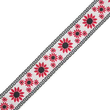 "White, Red and Black Floral Jacquard Ribbon 2.25""-324412-10"