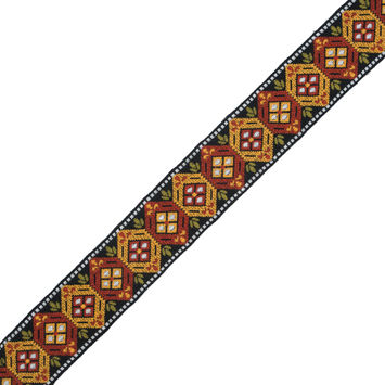 "Gold, Copper and Black Geometric Jacquard Ribbon 2""-324414-10"