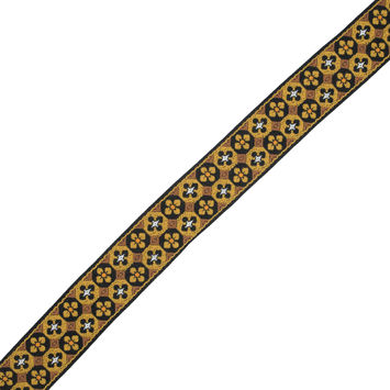 "Gold and Black Geometric Jacquard Ribbon 1.5""-324415-10"