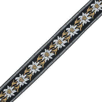 "Black, Mustard and White Floral Jacquard Ribbon 2""-324428-10"