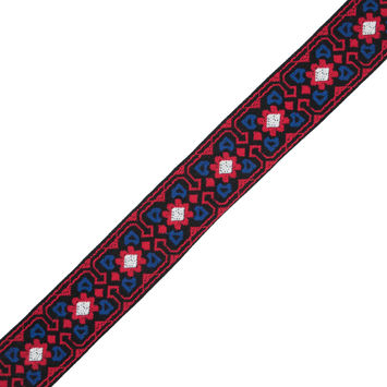 "Red, Blue and Black Geometric Jacquard Ribbon 2""-324430-10"