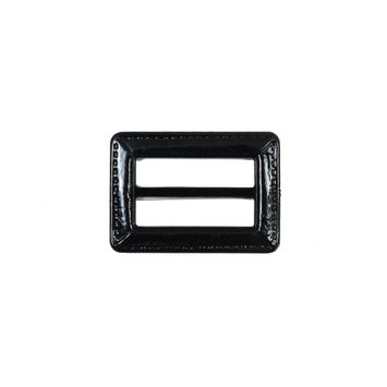 "Black Laquered Leather Buckle 1.5"" x 1""-324520-10"