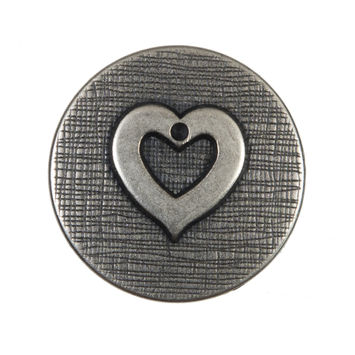 Silver Metal Heart Shank Back Button 44L/28mm-324526-10