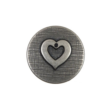 Silver Metal Heart Shank Back Button 36L/23mm-324527-10