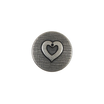Silver Metal Heart Shank Back Button 24L/15mm-324529-10