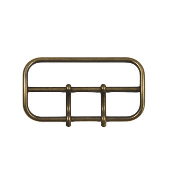 """Antique Gold 2-Prong Metal Buckle 3.5"""" x 1.75""""-324541-10"""