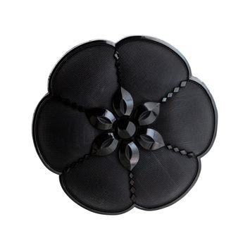 """Italian Black Nylon Flower Shank Back Button 2""""-324591-10"""