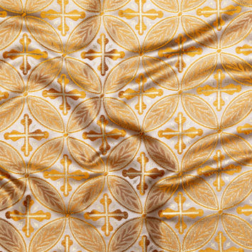 Orange and Metallic Gold Medallion Jacquard