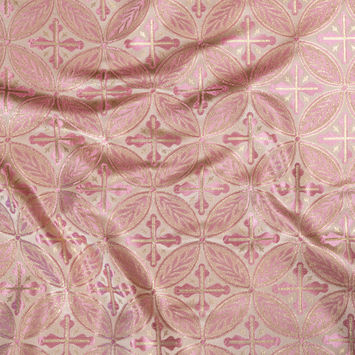 Pink and Metallic Gold Medallion Jacquard