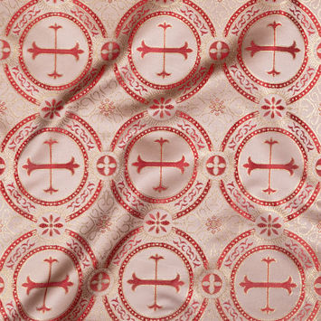 Metallic Gold and Red Ecclesiastical Medallion Jacquard