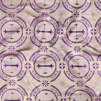 Metallic Gold and Purple Ecclesiastical Medallion Jacquard