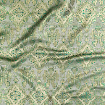 Metallic Gold and Green Ecclesiastical Chalice Jacquard