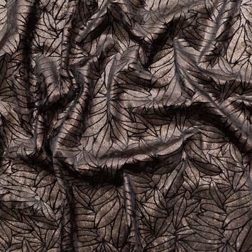 Black Stretch Velour with Metallic Bronze Floral Foil-324828-10