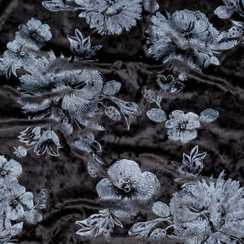 Black Stretch Velour with Metallic Slate Floral Foil-324831-10