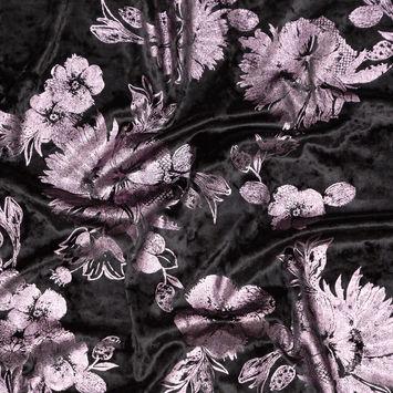 Black Stretch Velour with Metallic Pink Lavender Floral Foil-324832-10