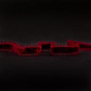 """Italian Red Picot Edge Velvet Ribbon 0.375""""-324969-10"""