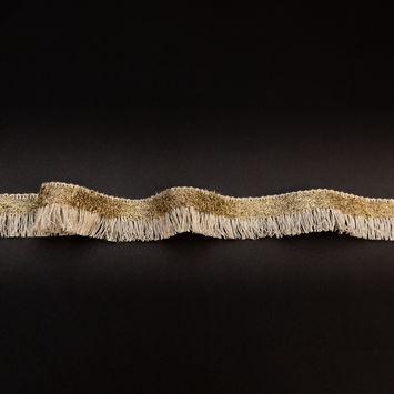 "Italian Natural Linen and Metallic Gold Braided Brush Fringe 0.75""-325021-10"