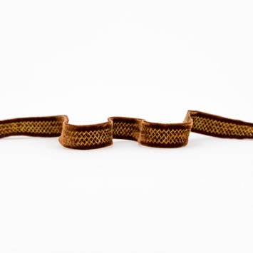 "Italian Brown and Gold Stitched Velvet Ribbon 0.625""-325037-10"