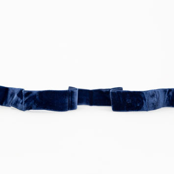 "Italian Midnight Blue Crushed Velvet Ribbon 0.875""-325089-10"