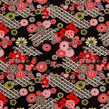 Red and Black Floral Printed Cotton Twill-325155-10