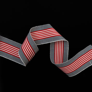 "Italian Striped Red, and Blue Grosgrain Ribbon 2""-325157-10"