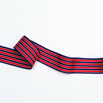 "Navy, Red and White Striped Grosgrain Ribbon 1.625""-325159-10"