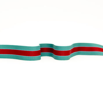 "Italian Jade and Red Striped Grosgrain Ribbon 1.25""-325160-10"