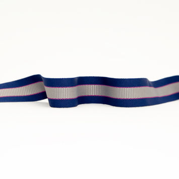 "Italian Royal Blue, Silver and Pink Striped Grosgrain Ribbon 1.25""-325162-10"