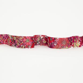 804c80bcfad9b Italian Peony Pink and Mahogany Red Floral Cotton Bias Tape Ribbon - 1