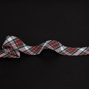 "Italian White, Green and Red Plaid Bias Tape Ribbon 1""-325203-10"