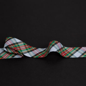 "Italian Green, Blue and Red Plaid Bias Tape Ribbon 1""-325204-10"