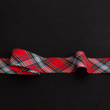 "Italian Red, Green and Blue Plaid Bias Tape Ribbon 1""-325205-10"