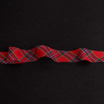 "Italian Red, Green and Yellow Plaid Bias Tape Ribbon 1""-325206-10"