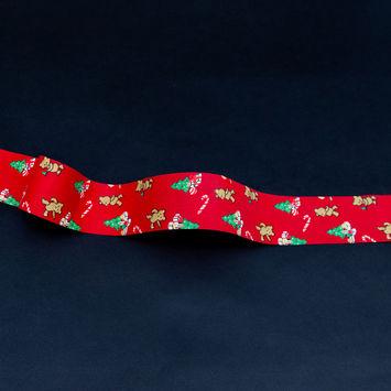 "Red Teddy Bear and Christmas Tree Ribbon 1.875""-325333-10"