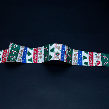 """Red, Green and Blue Striped Christmas Ribbon 1.875""""-325336-10"""