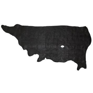 Medium Black Alligator Embossed Half Cow Leather Hide-325575-10
