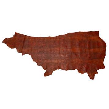 Medium Burnt Orange Alligator Embossed Half Cow Leather Hide-325576-10
