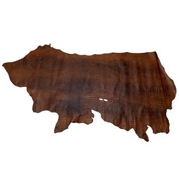 Medium Cognac Alligator Embossed Half Cow Leather Hide-325584-10