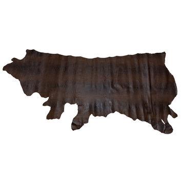 Large Chocolate Alligator Embossed Half Cow Leather Hide-325586-10