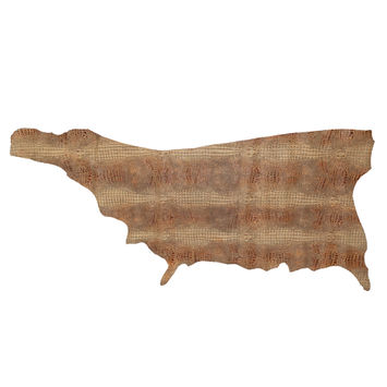 Small Tan Alligator Embossed Half Cow Leather Hide