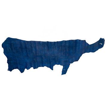Large Royal Blue Alligator Embossed Half Cow Leather Hide