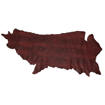 Large Cranberry Alligator Embossed Half Cow Leather Hide