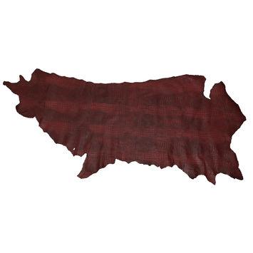 Medium Cranberry Alligator Embossed Half Cow Leather Hide