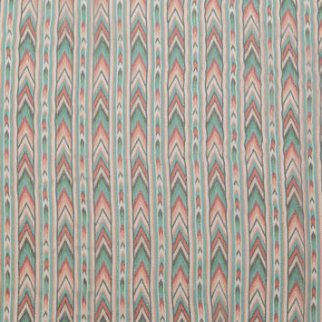Jade and Coral Geometric Crinkled Silk Chiffon with Metallic Gold Stripes-325925-10
