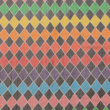 Rainbow Diamond Printed Crinkled Silk Chiffon with Metallic Gold Stripes-325930-10