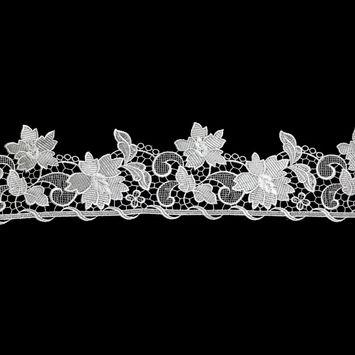 "European White Floral Guipure Lace Trim 4.75""-326018-10"