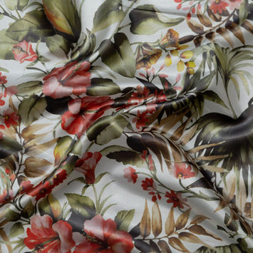 Italian Radiant Fern, Coral and White Floral Organza-326153-10