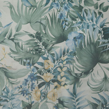 Italian Radiant Sky Blue, Green and Ivory Floral Organza-326158-10