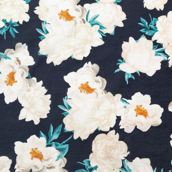 Black, Off-White, Orange and Nile Blue Floral Cotton Voile-326251-10